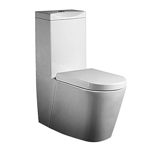 Lux-aqua Design Keramik Stand Spülkasten und Nano-Beschichtung inkl. SoftClose WC Sitz A380-N, Weiß