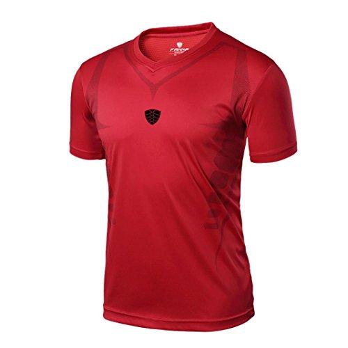 Hombre Deportes Camisetas❤️LILICAT® Blusa Tops de Compresión de Entrenamiento Fitness,Gimnasio,Correr, Yoga Camisetas de Tirantes Gym Hombre (2XL,  Rojo)