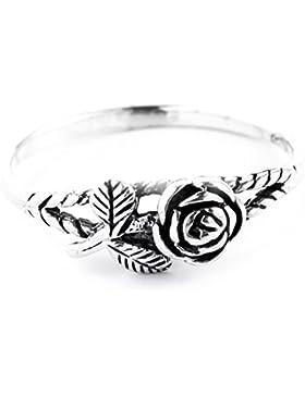 WINDALF Zarter Rosen-Ring IÔNA h: 0.6 cm Kleine Rose 925 Sterlingsilber