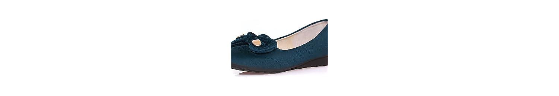 ZQ YYZ Zapatos de mujer - Tac¨®n Plano - Punta Redonda - Planos - Casual - Semicuero - Negro / Bermell¨®n / Almendra... -