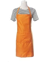 Koly Delantal de Cocina, Impermeable cocinar babero Con bolsillo (Naranja)