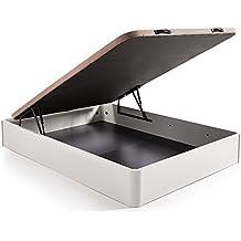 HOGAR24 ES Canapé Abatible Madera Gran Capacidad Color Blanco + Colchón Viscoelastico Memory Fresh 3D,