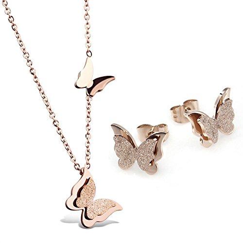 Kim Johanson Edelstahl Damen Schmuckset Schmetterling Halskette mit Anhänger & Ohrringe in Roségold inkl. Geschenkverpackung (Tiffany Und Ohrringe Herz Co)