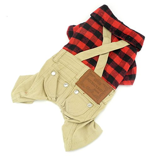 zunea British Style Small Pet Puppy Hund Katze Overall Plaid Shirts Pullover mit Khaki Overalls Pants Outfits Hund Chihuahua (Santa Outfit Weiblich)