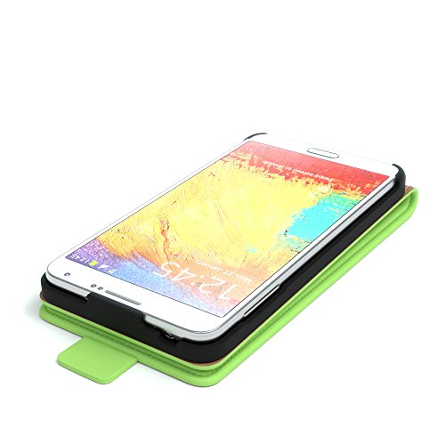 Samsung Galaxy Note 3 Neo Hülle - EAZY CASE Premium Flip Case Handyhülle - Schutzhülle aus Leder zum Aufklappen in Anthrazit Grün