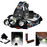XCSOURCE LD363, 5000LM 3x CREE XM-L T6 LED Focus Phare /​ Headlamp Headlight Zoom Head Torch Light + 2 X 18650 Batterie + Chargeur UE LD363 (Electronics & Photo)
