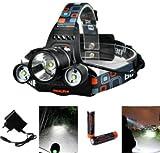 XCSOURCE 5000LM 3x CREE T6 LED Stirnlampe Fahrad Front Motorrad Lampe Scheinwerfer Scheinwerfer Camping Hiking Licht + 2X Akku (18650)Wiederaufladbare Batterie LD363