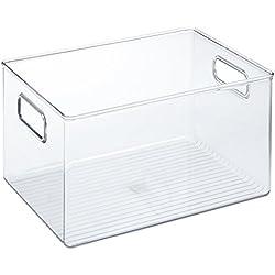 iDesign boîte de rangement à poignée, bac plastique extra-grand pour le placard ou le frigo, bac alimentaire sans couvercle, transparent