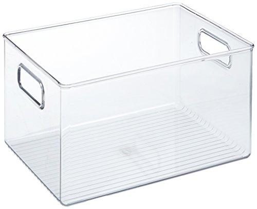 InterDesign Linus Organizador para frigorífico, caja organizadora de plástico de tamaño grande, organizador de cocina, transparente