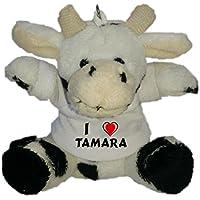 Shopzeus Vaca de Peluche (Llavero) con Amo Tamara en la Camiseta (Nombre de