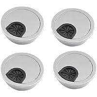 Pasacables de escritorio - SODIAL(R) 4pzs Cubierta de agujero de mesa pasacables de escritorio de plastico de tono de plata de forma redonda