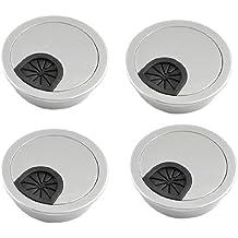 Pasacables de escritorio - TOOGOO(R) 4pzs Cubierta de agujero de mesa pasacables de escritorio de plastico de tono de plata de forma redonda