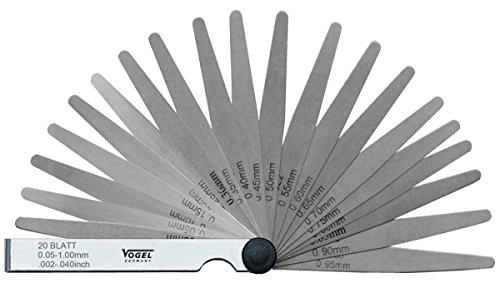 Vogel Fühlerlehre Stahl 13 Blätter, 0,05-1,0 mm, 411005.0