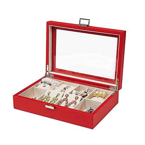 JIAYING Schmuckkästen Schmuckschatulle, Ohrring Halskette Armbanduhr Display Aufbewahrungskoffer, 2-lagig - Schnallenverschluss - Hochtransparentes Glasschiebedach - Lederdesign (Color : Red)