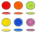DRULINE 6er-Set Kombisservice Speiseteller Essteller Orange, Blau, Gelb, Grün, Lila, Rot Ø 8,5 cm x 10 cm Füllmenge 250 ml