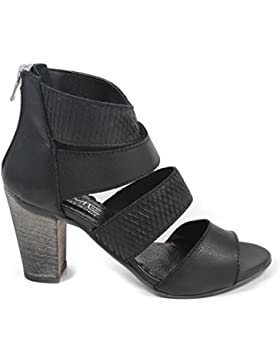 Sandali Tacco Alto Donna Vera Pelle Nero 0034 In Time Made in Italy