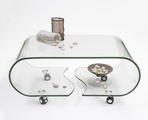 Mesa de centro con ruedas y cristal curvado de una pieza Coffee.