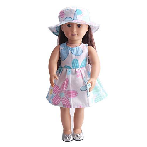 Zolimx Puppenbekleidung Zubehör Mädchen Spielzeug 18-Zoll Amerikanische Kleid mit Blumenmuster Puppekleid + Hut -