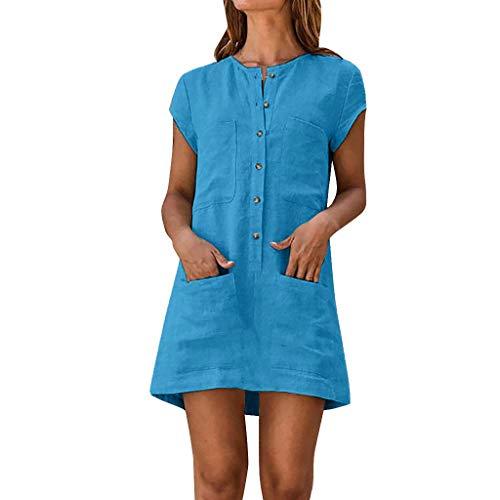 MAYOGO Damen Kleider Kleid Damen Sommer Baumwolle und Leinen Tshirt Kleider Kaftan Kleid Unifarben Kurzarm Tasche Sommerkleid Casual Jersey Blusen Kleider - Seide Vintage Abend Tasche