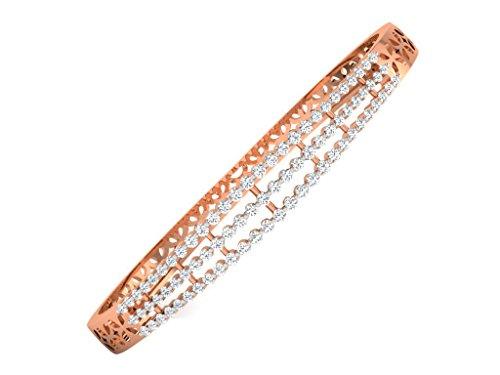 Fullcutdiamond 1,74ct Diamante Bracciale in oro (IJ, colore PK chiarezza) con catena in argento, oro rosa 14 ct, colore: Pink, cod. FCD-BR11384R/14/NS