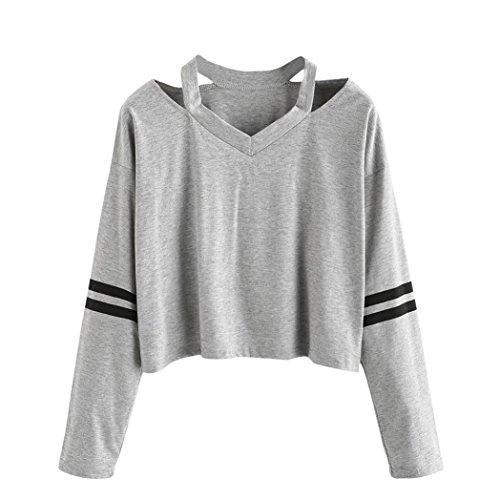 Damen mit langen Ärmeln T-Shirt SHOBDW Mode Damen Langarm-Sweatshirt V-Ausschnitt beiläufige Tops Bluse (S, Grau) (Baumwolle Mischung Gewaschen)