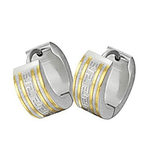 (Beydodo Edelstahl Ohrringe Damen Ohrstecker Kreis Gold Ohrring für Damen 7x10 MM)