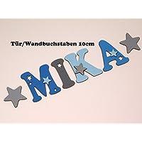 10cm große Holzbuchstaben in toller Farbkombination für die Kinderzimmertür. Einzigartige Kinderzimmerdekoration. Handbemaltes Unikat. Als Wunschname individualisierbar / Inklusive 2 Sternmotiven in passenden Farben