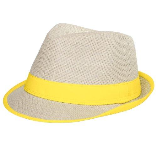CASPAR Unisex Trilby Hut/Strohhut mit farbiger Krempe - 2 Modelle - viele Farben - HT001, Farbe:No.2 gelb