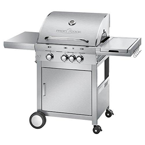 ProfiCook PC-GG 1058 Gasgrill, 3 Edelstahlbrenner + 1 zusätzliche Kochstelle, 3 Heizzonen für individ. Temperatursteuerung, stufenlose Temperatureinstellung, herausnehmbarer Fettauffangbehälter, Temperaturanzeige, Edelstahlfront und -haube (Weber Kugelgrill Smoker)
