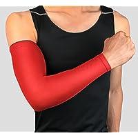 Ruiting Manga del brazo de protección UV, brazo manga elástica y transpirable, protección del brazo para ciclismo, baloncesto, fútbol, acampar, etc.-rojo, XXL
