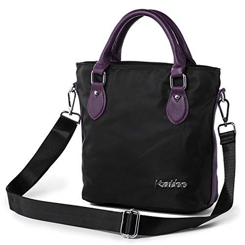 Katloo Elegant Nylon Damen Handtasche Umhängetasche Taschen Shopper Mädchen Kleine Reisetasche mit Henkel (Schwarz) (Hobo Nylon Handtasche)
