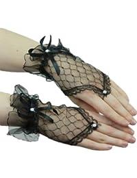 Yummy Bee Kurze Fingerlose Handschuhe mit Spitze Karneval Fasching Kostüm Hochzeit Abend Damen