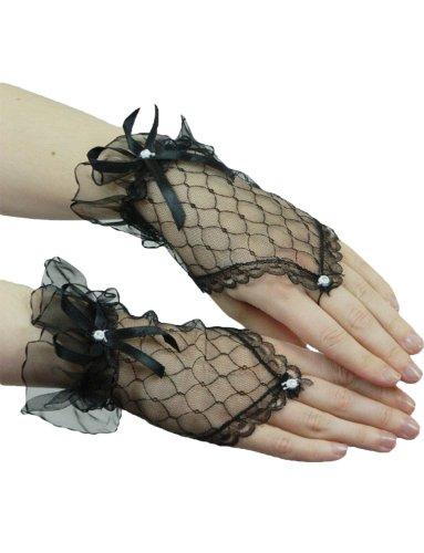 Am Nächsten Auf Tag Lieferung Kostüm - Yummy Bee - Kurze Fingerlose Handschuhe mit Spitze Karneval Fasching Kostüm Hochzeit Abend Damen (Schwarz)