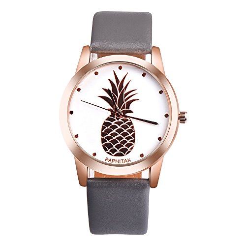 Ditracter Armbanduhren,Damen Ananas Kunstleder Analog Quarz Leinwand Gürtel Uhren Wrist Watch Casual Armbanduhr Uhrenarmband Mädchen Frau Uhr (Grau)