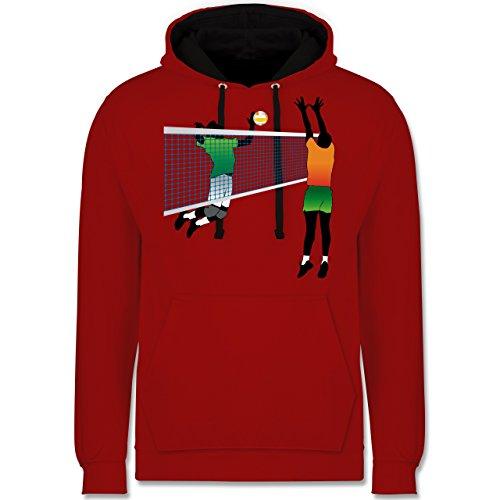 Volleyball - Volleyballspieler Netz Angriff Verteidigung - Kontrast Hoodie Rot/Schwarz
