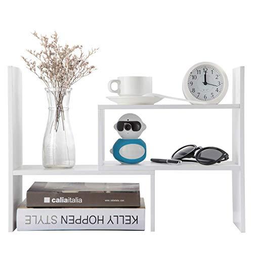 Home-Neat DIY Einstellbar Desktop Bücherregal Bürobedarf Holz Schreibtisch Veranstalter Literatur Display Lagerregal Aufbewahrungsregal (Weiß) -