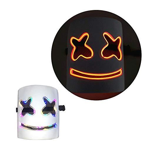val LED Marshmello Helm DJ Maske leuchten Neon Party Halloween Kostüm DIY PVC Maske für Karneval & Halloween ()