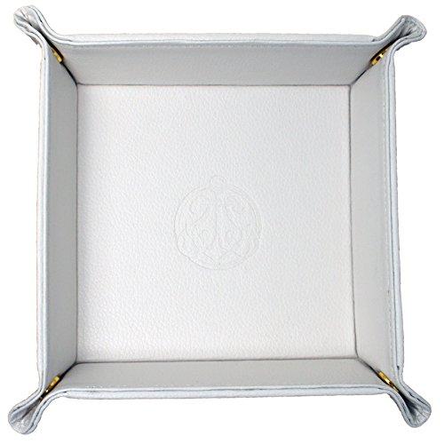 SIVEL + SHARP Vegan Leder Valet Tray - Geprägte Catchall Tray mit Messing Snaps 1 Weiß -