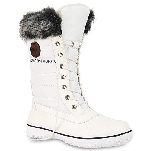 Warm Gefütterte Damen Stiefeletten Winterboots Stiefel Schuhe 128591 Weiss 40 Flandell (Wasserdichte Frauen Schnee-stiefel Sorel)
