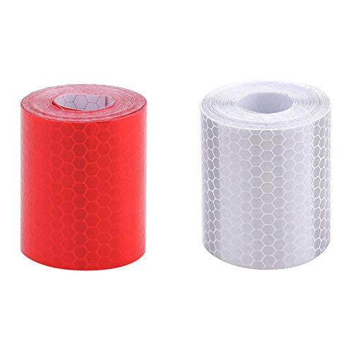 Reflektierendes Band,Reflektorband Wasserdichtes Warnband fur Fahrzeuge Autos Anhanger Fahrrader Helme 2 Pack 50mm × 3 m Rot Weiß (Tool Band-auto-aufkleber)