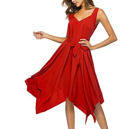 Butterfly Sleeveless Jersey (Women's Butterfly Print Sleeveless Dress Vintage Swing Lace Dress Butterfly Scarf Scarves Costume Blouse Skirt Einfarbiger V-Ausschnitt Asymmetrische Fliege hinten/Red,XL)