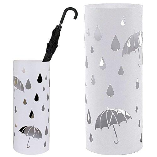 Bakaji portaombrelli stand in ferro design bak5w porta ombrelli forma rotonda colore bianco con decorazione intarsio ombrelli e gocce vaschetta salvagoccia e ganci per ombrelli pieghevoli dimensioni 49 x 19,5 cm