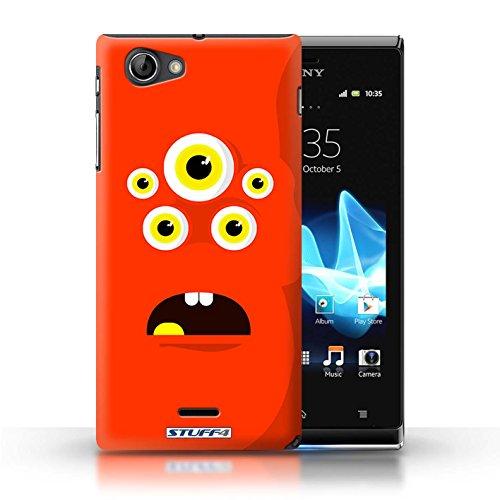Kobalt® Imprimé Etui / Coque pour Sony Xperia J (ST26i) / Rouge conception / Série Monstres Rouge