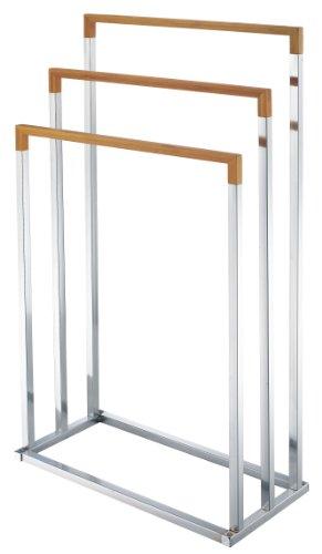 zeller-18611-toallero-de-pie-con-3-barras-45-x-215-x-845-cm-cromado-bambu