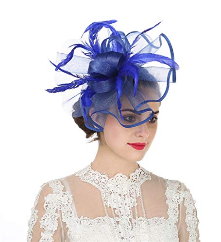 Lucky Leaf Damen Fascinator Haarspange Haarspange Hut Feder Cocktail Hochzeit Tee Party Hut und Haarband für Frauen Gr. 85, 5-feather Royal Blue (Hut-party)
