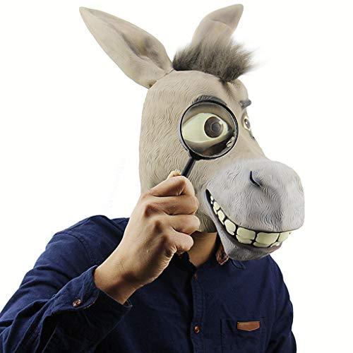 QWEASZER Esel Maske, Halloween Shrek Esel Gesichtsmaske, Neuheit Deluxe Kostüm Party Cosplay Latex Tierkopf Maske für Erwachsene,Donkey Head mask-OneSize