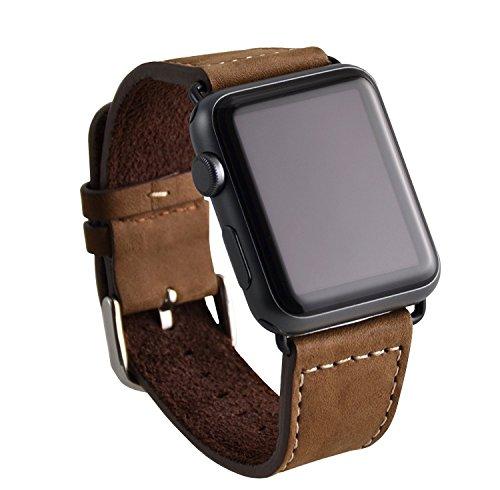 OKCS Leder Uhren-Armband - für Apple Watch Series 1, Series 2, Series 3, Series 4, Edition echtes Wild Leder Erstatzband 42 mm + Connector - Braun