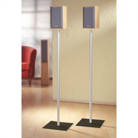 VCM 2x Surroundstand Stand Alu Halterung Glas Standfuss Boxenständer Lautsprecher Ständer Schwarzglas