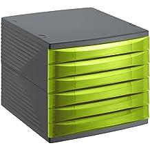 Rotho Quadra 10800MK000 Cajón archivador de oficina, poliestireno, formato A4, alta calidad, aprox. 37 x 28 x 25 cm, plástico, Gris antracita y verde, 6 Schübe