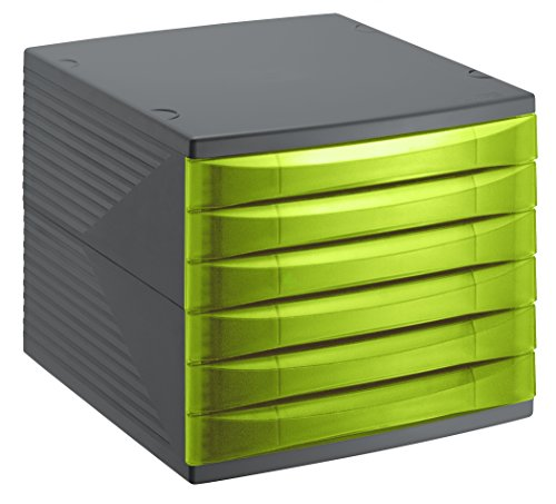 Rotho Quadra Schubladenbox / Bürobox mit 6 Schüben , Kunststoff (PS), grün/schwarz, A4  (37 x 28 x 25 cm)